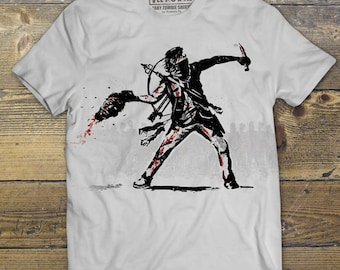 Daryl Dixon Shirt, The Walking Dead t-shirt, Zombie,  Banksy Mashup, Men