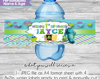 Monsters Inc. Water Labels | Monsters Inc. Birthday | Monsters Inc. Labels | Monsters University | Monsters University Water Labels