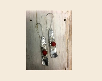 SOLD --textured aluminium dangle earrings aluminium jewellery with red coral beads hand crafted aluminium alu earrings gift boxed