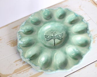 Green Pottery Deviled Egg Tray/Green Egg Dish/Egg Tray/Pottery Egg Tray/Dragonfly Stoneware Egg Tray/ Egg Platter/Green Pottery Egg Plate