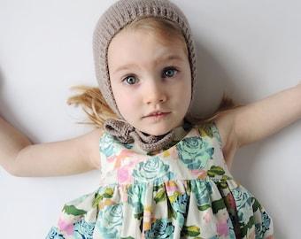 THE PIPER BONNET, knit bonnet, knit pixie bonnet, toddler bonnet, baby bonnet, baby hats, photo prop, toddler hats, washable wool, crochet