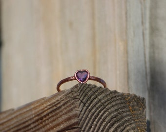 Faceted Amethyst Heart Ring // Electroformed Copper Jewelry