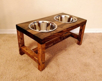Dog Bowl Feeder - Large Dog Feeder - Farmhouse Style - Rustic Dog Bowl Stand - Raised Dog Bowl Feeder - Elevated Dog Feeder - Large Dog Bowl