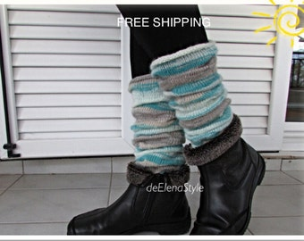 Wool leg warmers FREE SHIPPING Angora kilting boot cuffs Fall winter yoga socks Autumn legwarmers Knitted boot toppers Wool leg warmers