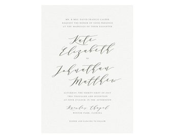 Melia: Custom PDF Printable Wedding Invitation in Slate, Handwritten Calligraphy Invitation, Minimalist Wedding Suite, Fine Art Wedding