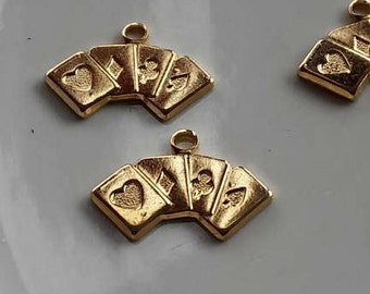 Playing Cards, Gambling Cards, Poker Cards, Las Vegas Charms, Deck of Cards, Texas Holdem, Gold Card Charms, 6 pieces