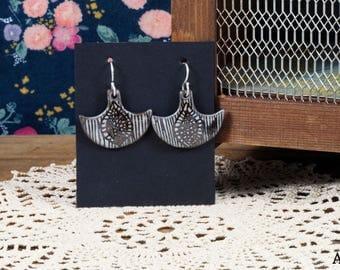 Ethnic - black stoneware earrings