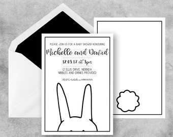 Bunny Baby Shower Invites, Rabbit Baby Shower invite, Baby Shower Invitations, Baby Shower Invites, Black and White Baby Shower