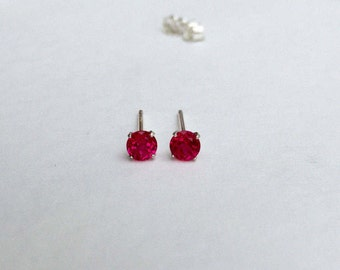 Ruby earrings, ruby studs, 925 sterling silver ruby earrings, silver ruby studs, gemstone earrings, ruby jewellery, gemstone studs