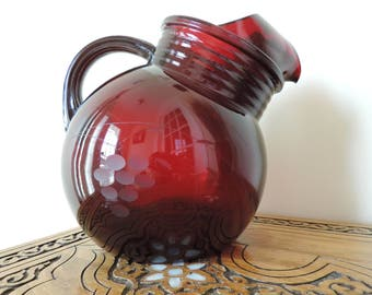 Pitcher - Anchor Hocking Royal Ruby Red - Vintage -.