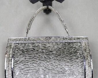 1950s handbag purse, silver gray Swakara Persian lamb and chromed metal, mod
