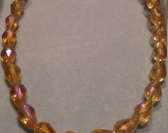 Topaz Glass Beaded Necklace