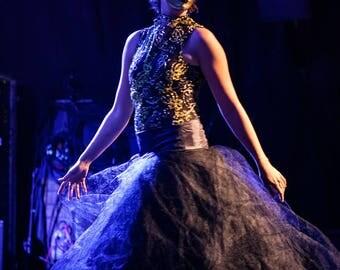Masquerade  gold bodysuit Tulle Skirt (Quick Release) Burlesque / Drag