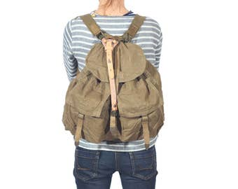 Vintage Military Canvas Backpack, Canvas Rucksack, Laptop Backpack, Military Khaki Pack