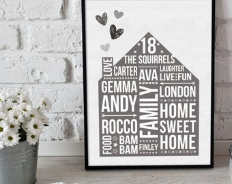 Personalised House print - home print - new house print - new home gift - new home - home - personalised print - personalised prints