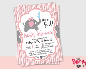 Personalized Elephant Baby Shower Invitation girl - Printable Chevron Elephant Baby Shower Invitation for Girl! It's a Girl!