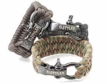"""ELEPHLEX Gear 9"""" TRILOBITE Paracord Survival Bracelet 550lbs"""