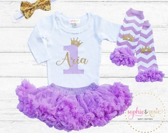 First Birthday Outfit, Personalized 1st Birthday Outfit Girl, One Birthday, Girls Gold Birthday, Birthday Princess, Lavender Tutu