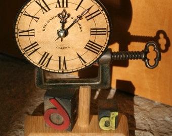 Antique Vise & Wood Letterpress Type Clock - 6d