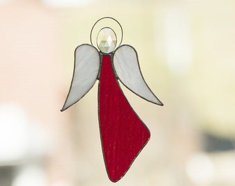 Gorgeous European Style Stained Glass Angel -- Red w/Beveled Jewel
