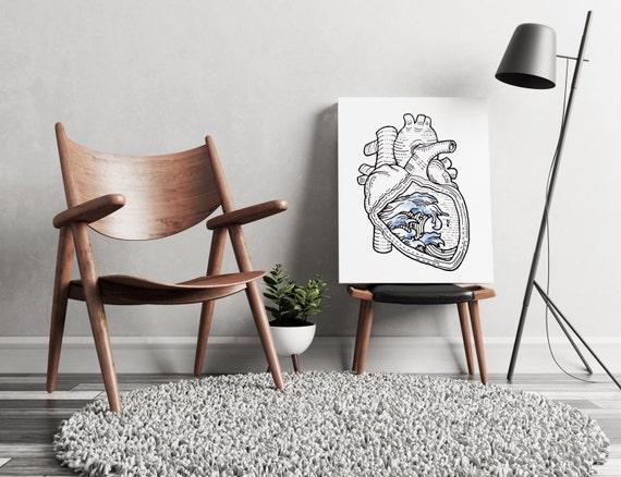 OCEAN HEART  | artwork | art prints | canvas art | framed art | surfing art | watercolor art | giclee prints  | wall art | ocean art