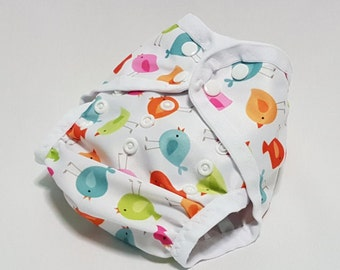 Cloth diaper cover | AI2 | all in two | one size | newborn | prefold | flat | fitted | soaker | nappy wrap | boy girl | birdies