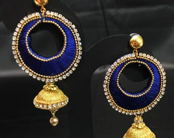 Royal Blue and Golden Silk Thread Jewelry - Indian Jewelry - Indian Earrings - Silk Thread Earrings - Indian Bridal - South Indian Jewelry -
