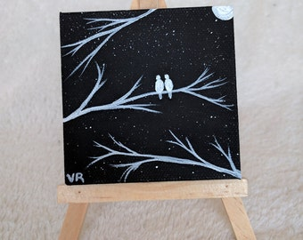 A Pair of Moonlit Doves, love, couple, mini painting