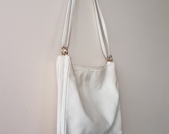 Vintage Leather Bag • White Leather • 1970s • Shoulder Bag • Slouch Bag •