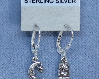 Teeny, Tiny Owl and Moon Leverback Earrings - Sterling Silver - 180506 - Free Shipping to the USA
