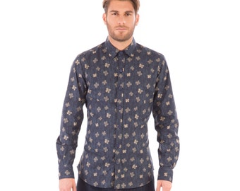 Mens 100% Cotton Long Sleeve Slim Fit Shirt Black Gold Leaf Print