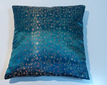 Blue Chinese fabric cushion