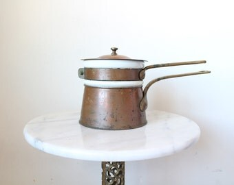 Double Boiler | Copper Double Boiler | Copper Pots | Copper Pan | Copper Cookware | Ceramic | Melting Pot | Wedding Gift | Anniversary Gift