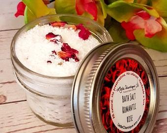Romantic Rose Bath Salts, Bath Soak, Rose Bath Salts, Dead Sea Salt, Foot Soak,  All natural, Aromatherapy Bath Salts