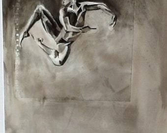Male figrative ballet dancer study, original ink painting and collage on A1 paper.