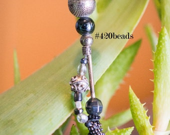 420beads CLIP: mesh, hematite, silver, hardcore, lord of the pokers, reefer clip / roach clip, bling your blunt