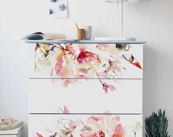 Delightful Decals For MALM Dresser, Ikea, Spring Floral Stickers, PACK OF 3, Ikea