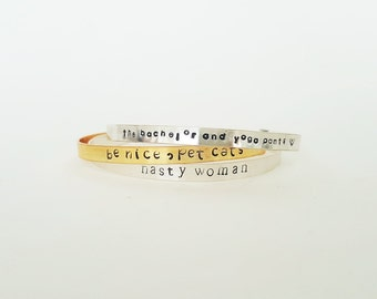 Personalized Bracelet Cuff // Custom Mantra Bracelet + Hand Stamped + Friendship Bracelets + Wedding + Gifts for her + Coordinates