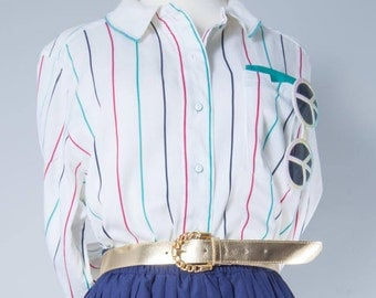 Vintage shirt•striped Shirt•Vintage blouse•80's clothing•White blouse with stripes•Vintage shirts women•Button up Blouse