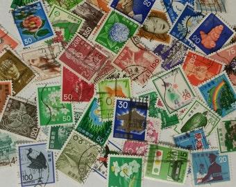 Japanese Stamps 50 Used/ Vintage Japan Stamps