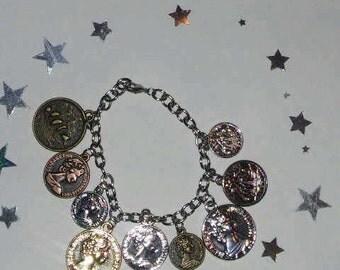 Antique/Vintage Coin Charm Bracelet