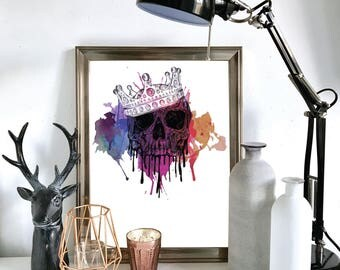 Crown Skull Watercolour, Pen Drawing Illustration, A4 A5 Print, Wall Decor