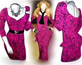 RARE Betsey Purple Multi/Tattoo/Star/Cartoon Peplum Bodycon Dress M/L