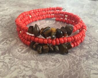 Coral and Tiger's Eye Memory Wire Bracelet, Wrap Bracelet