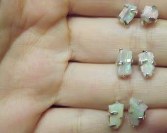 Raw Opal Earrings, Lightning Ridge Opal, Raw Opal Studs, Raw Australian Opal