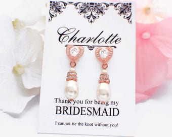 Pearl bridesmaid earrings, Rose Gold, Matron of Honor jewelry, wedding earrings, bridal party earrings, personalized bridesmaid gift