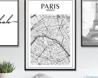 Paris Map Print, Paris Wall Art, Paris Print,Paris Map, Map of Paris, Paris Wall Decor Paris Printable Wall Art Prints City Map Paris Poster