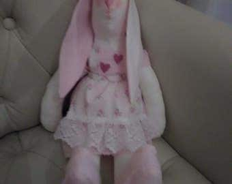 Bespoke Tilda Rabbit 'Snowy' HandCrafted Soft Toy or Shabby Chic Decoration