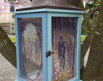 Little Free Library with Van Gogh Prints, Hanging Bookcase, Art Box