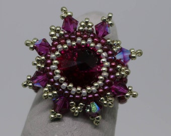 Crystal explosion ring with Swarovski crystals